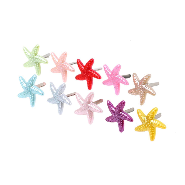 WEFOO 50 pcs mm Mini Brads Starfish Metal Paper Fasteners Craft Brads.