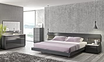 Amazon Com J M Furniture Braga Modern Grey Lacquer Bedroom Set