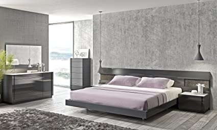Amazon.com: J&M Furniture Braga Grey Lacquer Queen Size ...