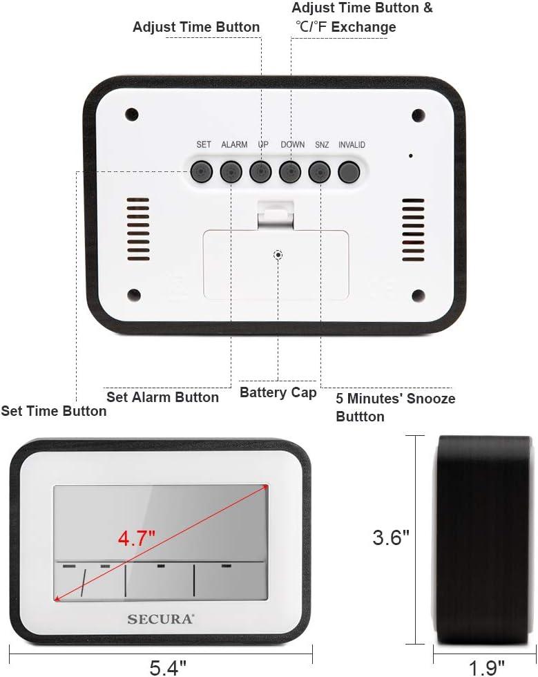 Black Secura Digital Alarm Clock Battery Operated with Snooze Shelf Desk Temperature Display for Bedrooms Bedside Blue LED Backlight