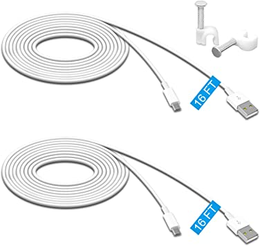 4-Pack 25ft Micro USB Cable Flat Compatible for Wyze Cam Extension Power Cord with Wire Clips Oculus Go NestCam Indoor