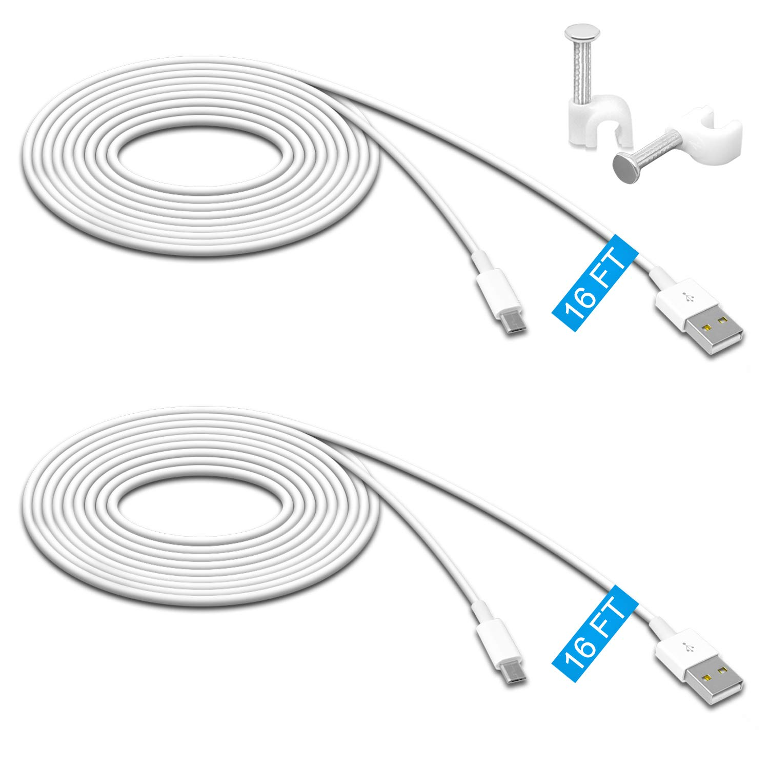 2 Pack 16.4FT Power Extension Cable for Wyze Cam Pan/WyzeCam/Kasa Cam/YI Dome Home Camera/Furbo Dog/Nest Cam/Blink/Oculus Go/Amazon Cloud Camera,USB to Micro USB Durable Charging and Data Sync Cord by MENEEA