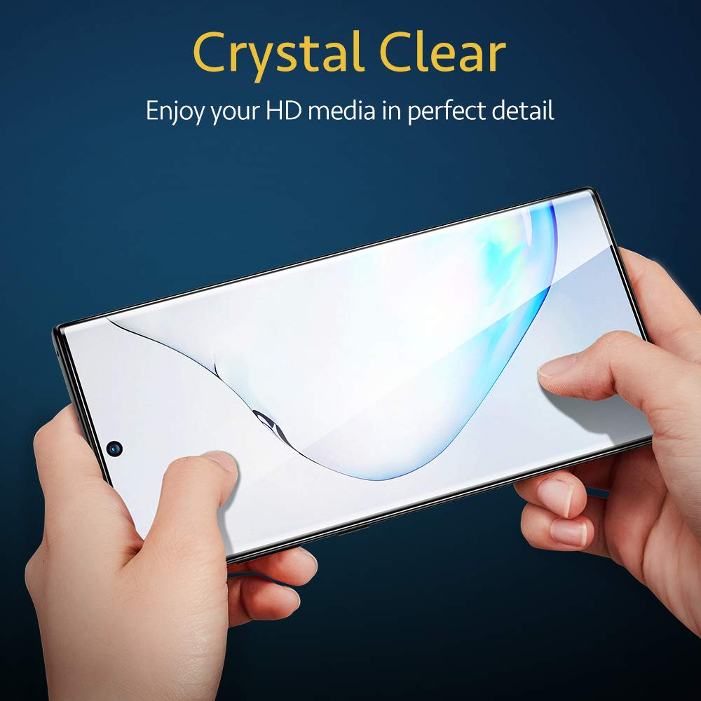 Fingerprint Edge-to-Edge Coverage Force-Resistant ESR Screen Protector for Samsung Note 10 Tempered-Glass Scratch 2-Pack Case Friendly Screen Protector for Samsung Galaxy Note 10 2019