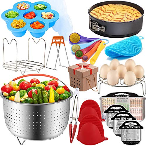Pressure Cooker Accessories Set Compatible with Instant Pot 5,6,8 QT, Steamer Basket, Springform Pan, Egg Rack, Egg Bites Mold, Cheat Sheet Magnets, Bowl Clip, Tong and Mitts& Scrub/12pcs - Assortment Cheesecake Mini