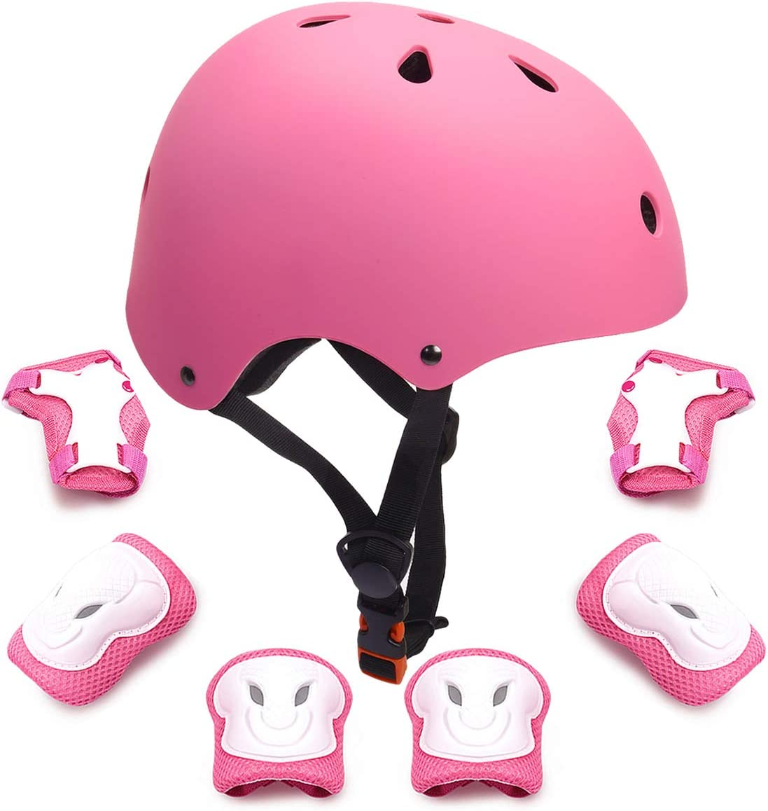 Kids Protective Gear Set Toddler Kids Bike Helmet Knee Elbow Pads Wrist Guards Pads for 3-8 Years Boys Girls Child Skateboard Rollerblading Cycling Scooter Hoverboard Sports Protective Gear Set 7Pcs