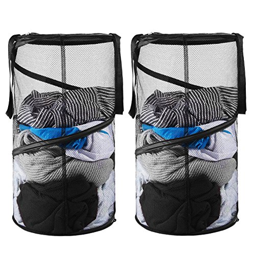 Large Mesh Pop - 2 Packs Pop-Up Mesh Laundry Hamper, Foldable Collapsible Laundry Basket with Handles for Dirty Clothes, Baby Accessories Toys, Sporting goods