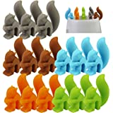 Tea Bag Holder 15 PCS Tea Bag Hangers Cute Drink Markers Squirrel Shaped Glass Charm Silicone Identifier for Cups and Mugs