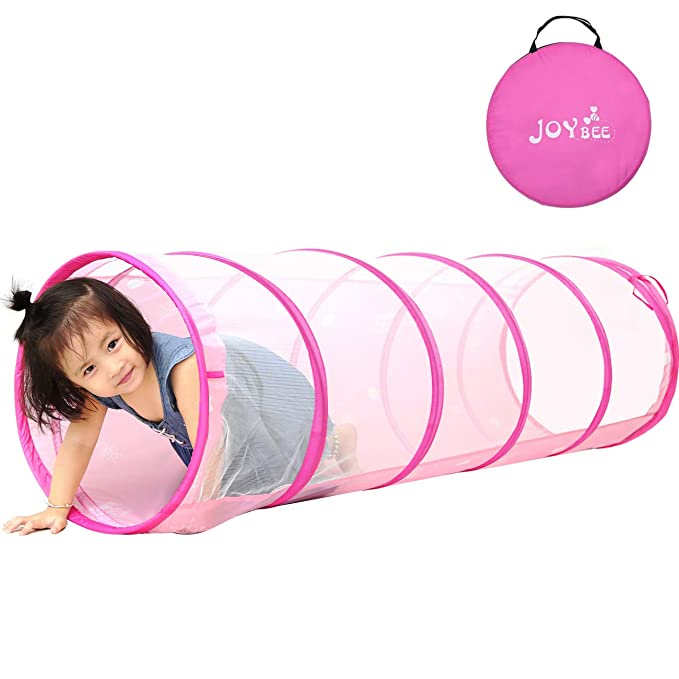 JOYBEE Play Tunnel for Kids Toddlers 5.25ft Instant Pop Up Crawling Tunnel Indoor Outdoor Toy Tube with Carrying Bag Christmas Birthday Gift Pink