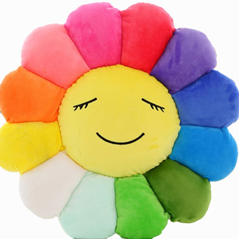 Waist Rest Sunflower Office Seat Cushions Lumbar Support Waist Pillow Home Office School Car Waist pillow Sofa Support Backrest Plush Toys (Diameter-45CM, Smile)