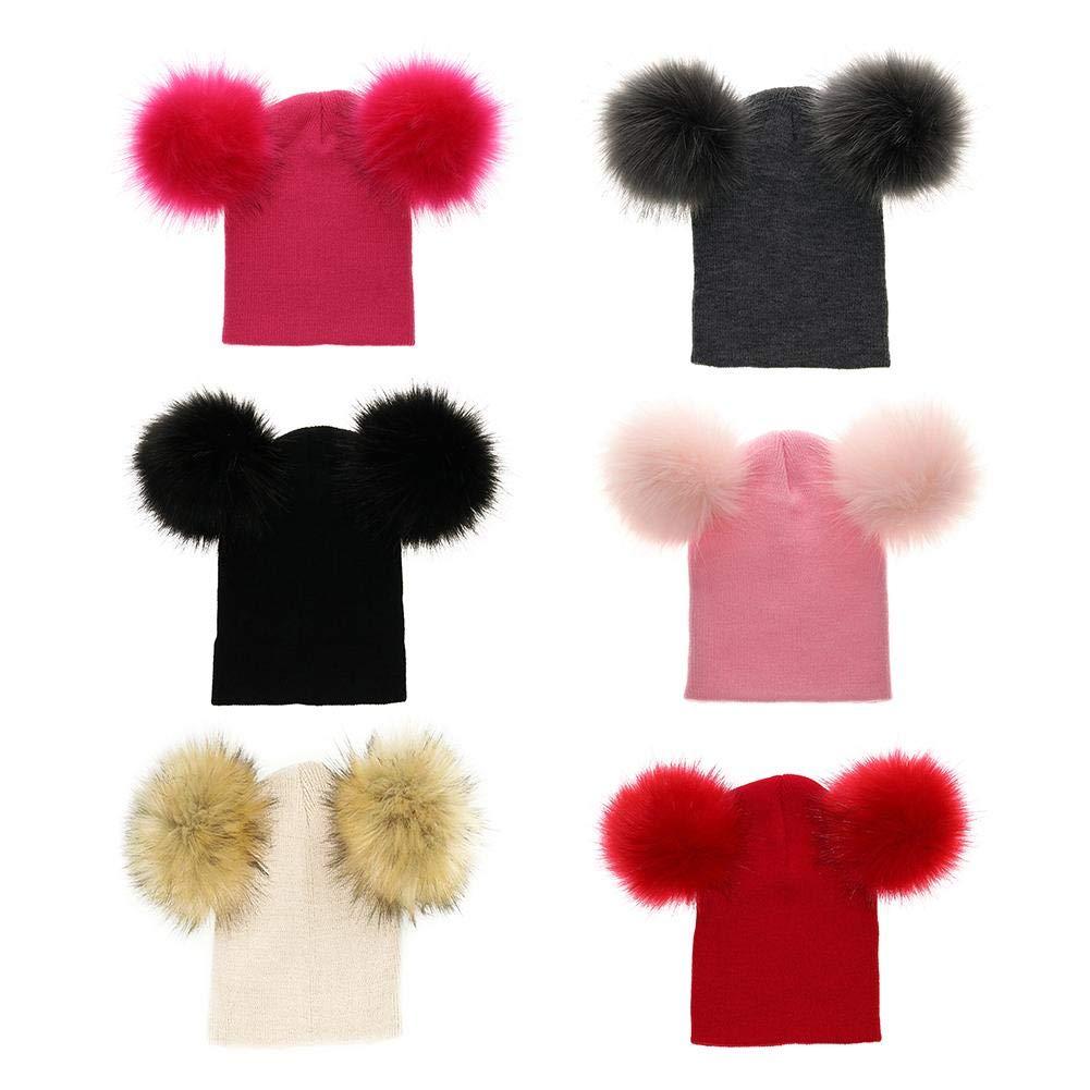 Altalena doppia con cappello da neonato cute Kids Baby Girl Boy invernale pelliccia pom cappelli a maglia orlo berretto Beanie rosso Red