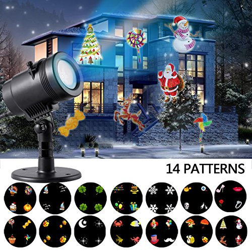 Disney Halloween Skeleton Dance (Gemtune Christmas Light Projector LED Patio Lawn light with 14 Switchable Patterns, Indoor and Outdoor Waterproof Spotlight Night Light for Christmas Birthday Party Holiday Decoration)