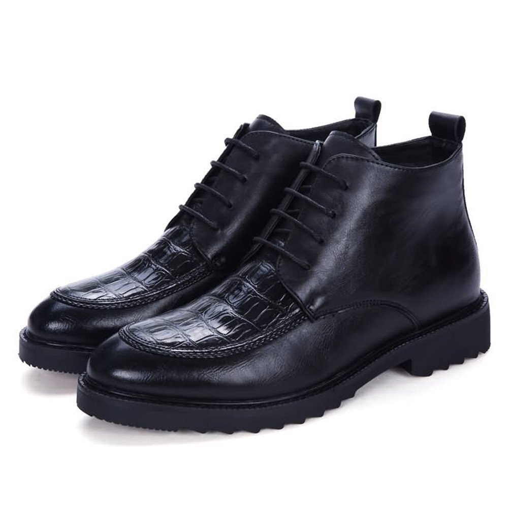 Svarta FeiNianJsh Mans Lace Lace Lace up skor Ankle stövlar Flate Heel skor Pointed Toe Leisure och PU läder skor  upp till 50% rabatt