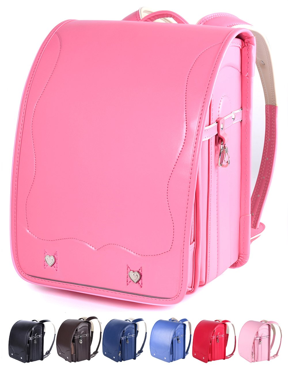 Randoseru Children Japanese School Bag for Boys and Girls,Satchel Bag A4 Clear File 7 Colors (CHERRY RED) by M-MAX