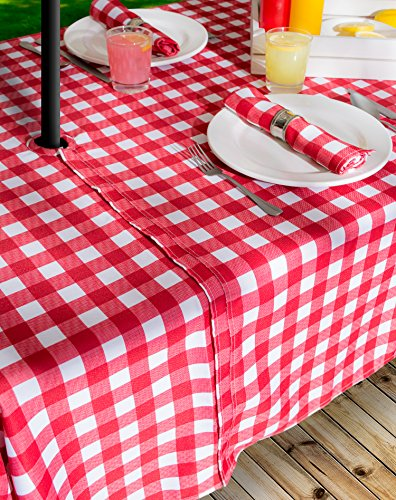 DII Spring & Summer Outdoor Tablecloth, Spill Proof and Waterproof with Zipper and Umbrella Hole, Host Backyard Parties, BBQs, & Family Gatherings - (60x120'' - Seats 10 to 12) Red Check by DII (Image #7)'