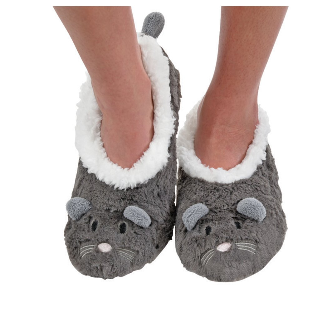Snoozies Womens Animal Heads Sherpa Plush Fleece Lined Slipper Socks - Mouse, Large