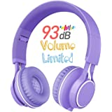 Kids Headphones, HD30 Volume Limiting Children Headset with Microphone for Girls Boys and Tablets Computer Laptops IOS Android Smartphone (Purple)