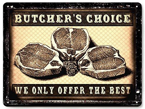 Butcher shop meat metal Sign beef steak pork - Meat Shop