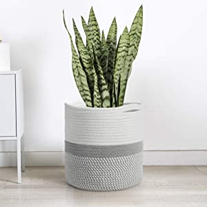 TIMEYARD Woven Cotton Rope Plant Basket for 10
