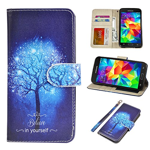 S5 Case, UrSpeedtekLive Galaxy S5 Wallet Case, Premium PU Leather Wristlet Flip Case Cover with Card Slots & Stand Compatible Samsung Galaxy S5, Believe in - Galaxy Cases S5 For Dollar