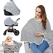 Baby Nursing Cover & Nursing Poncho - Multi Use Cover for Baby Car Seat Canopy, Shopping Cart Cover, Stroller Cover, Provide 360° Full Privacy Breastfeeding Protection-Baby Gift for Boy&Girl