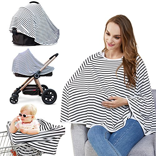 - Baby Nursing Cover & Nursing Poncho - Multi Use Cover for Baby Car Seat Canopy, Shopping Cart Cover, Stroller Cover, 360° Full Privacy Breastfeeding Protection, Baby Shower Gifts for Boy&Girl