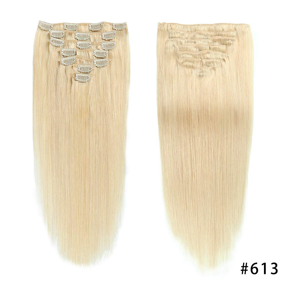Bleach Blonde Double Weft Clip in Human Hair Extensions Full Head 14''-20'' Grade 8A Quality 7pcs 16clips Long Soft Silky Straight 100% Remy Human Hair Clip In (18''-70g #613) by JIAMEISI