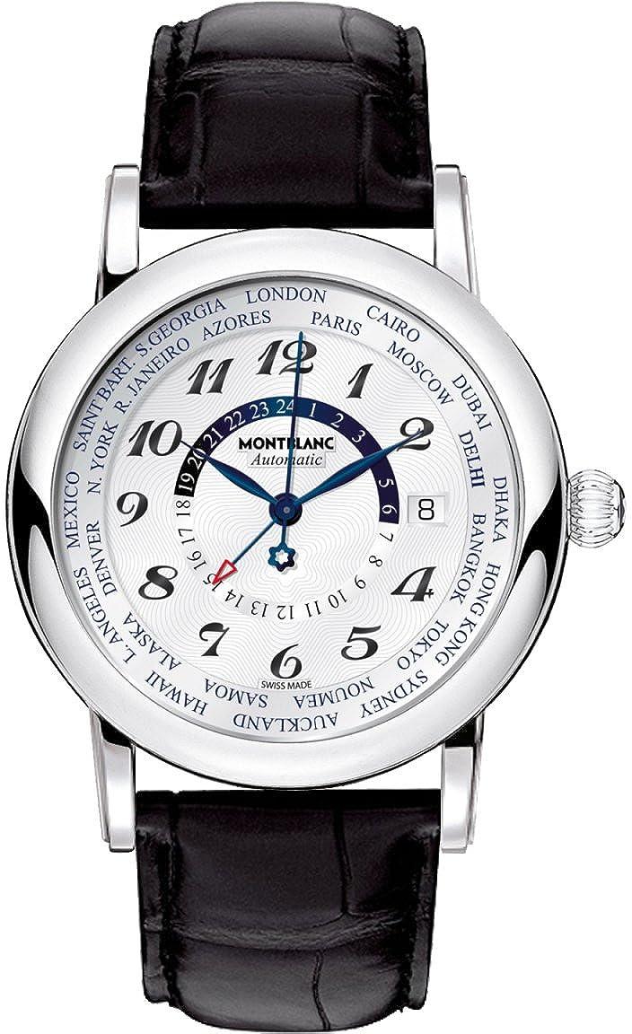 Montblancスター106465世界時間GMT Men 's Luxury Watch withブラックレザーストラップ B07DD5YWWS