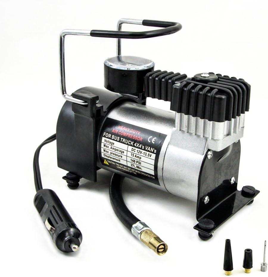 TIROL 12V Auto Electric Portable Pump Heavy Duty Air Compressor Tire Inflator Tool 140 PSI