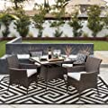 Best Choice Products 5-Piece Indoor Outdoor Wicker Patio Dining Set Furniture w/Table, Umbrella Cut Out, 4 Chairs -Brown