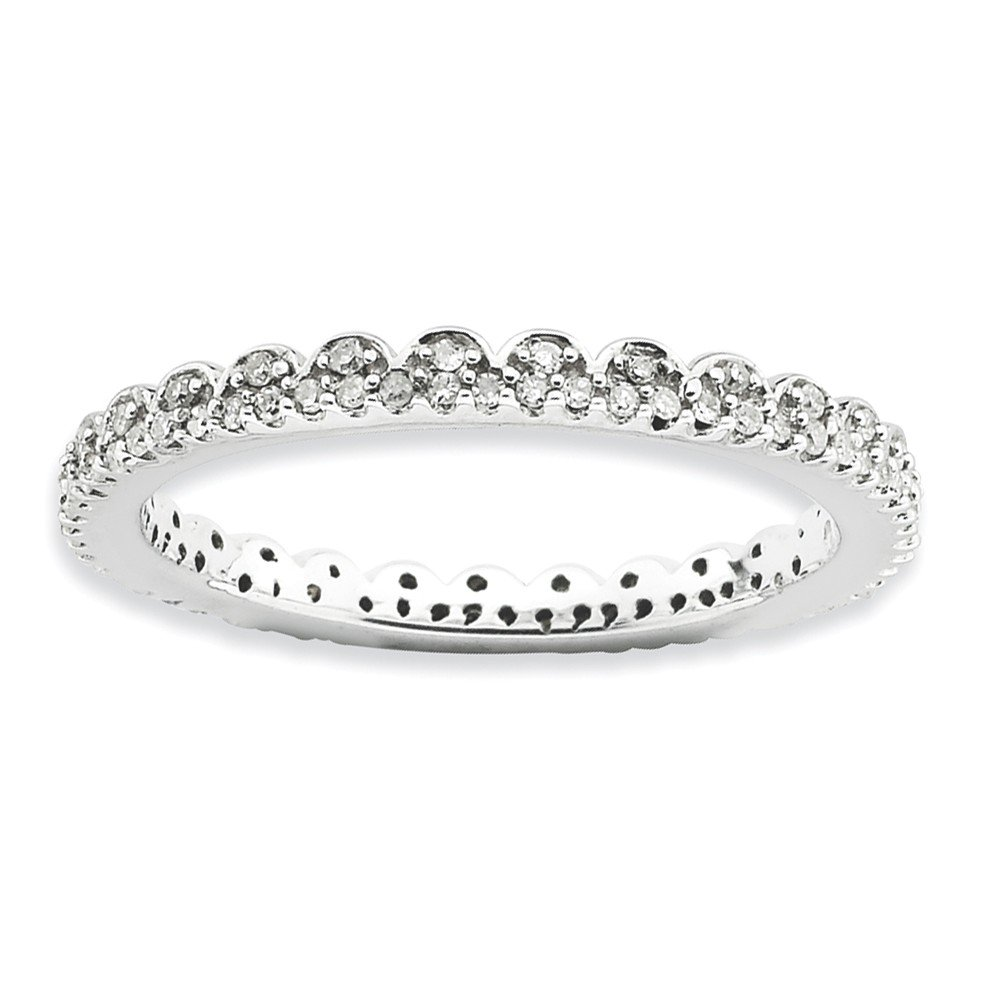 Diamond (I3, J-K 0.25 cttw) Size 6 Lace 2.25mm Eternity Band Silver Stackable Expressions Ring