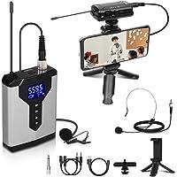 Depusheng Sistema de micrófono Lavalier inalámbrico Micrófono de solapa con petaca recargable y receptor Micrófono…