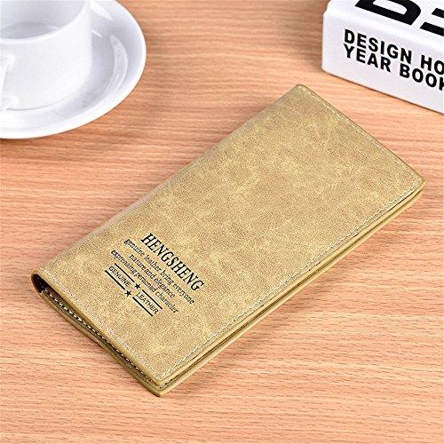 Multi Couleurs Unisexe Longue PU Cuir Clutch Purse Tri-Fold Portefeuille Casual Doux (Color : Gray) Coffee