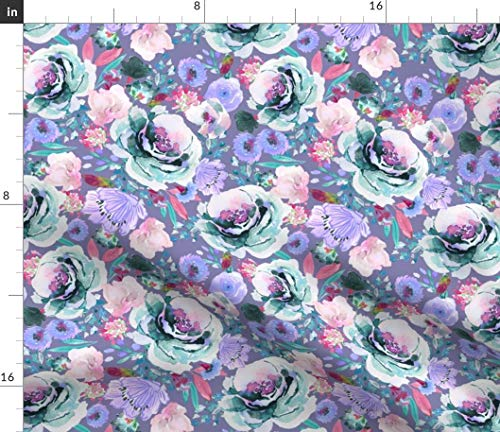 Spoonflower Violet Floral Fabric - Ultra Blossom Blues Watercolor Boho Bedding Baby Blanket Curtains Nursery Print on Fabric by The Yard - Denim for Sewing Bottomweight Apparel Home Decor Upholstery