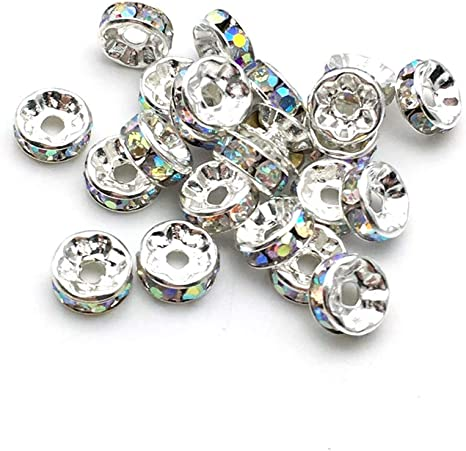 100 Pcs 4mm 8mm 10mm Brass Rhinestone Rondelle Spacer Beads 6mm
