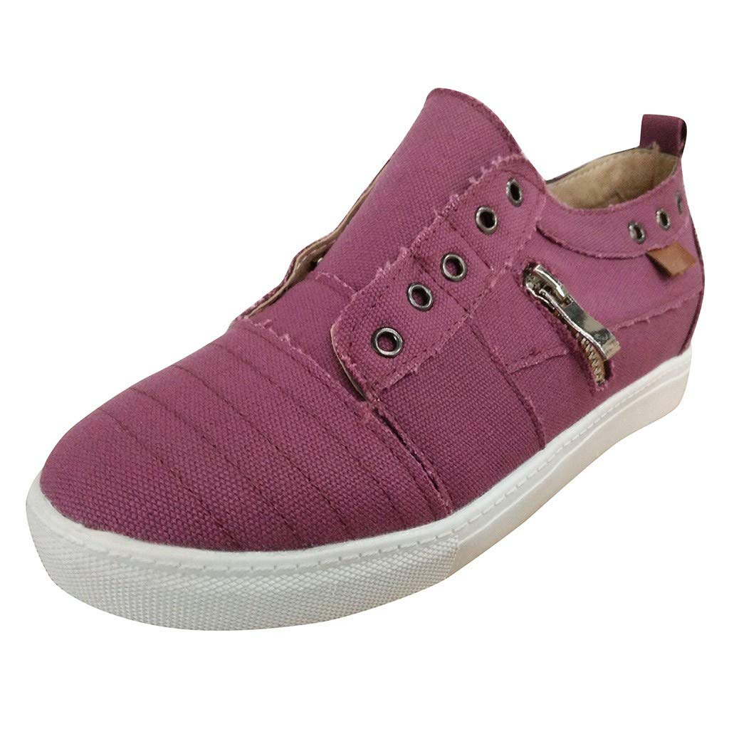 Women's Loafers Slip On Canvas Espadrilles Shoes Running Walking Tennis Trainer Sneakers Comfort Driving Shoes (US:6, Purple)
