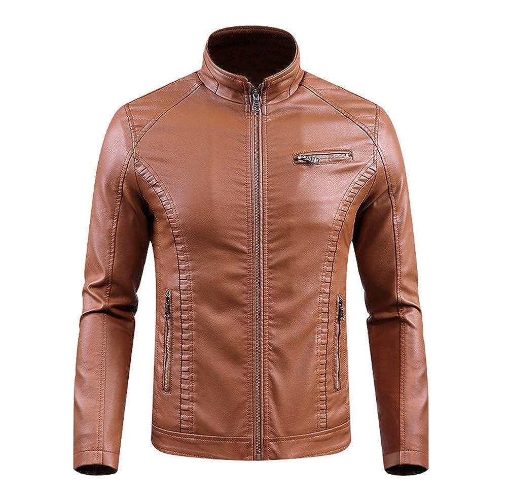 MODEOK Biker Men's Cafe Racer Antique Rider Distressed Leather Jacket