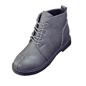 Botas, Manadlian Botines de mujer Zapatos con cordones Tacones bajos Bota de otoño (EU:38, Gris): Amazon.es: Electrónica