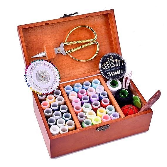 AITOCO Kits de Costura con Cesta y Caja de Madera, Suministros para Coser a Mano Kit de Accesorios de Costura con Organizador de Almacenamiento para ...