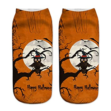 Runfon 1 Pair Halloween Pattern Calcetines Suave y Confortable Halloween 3D diseño Estampado Low Cut Ankle Sock para Hombre Mujeres (Brown y Naranja): ...