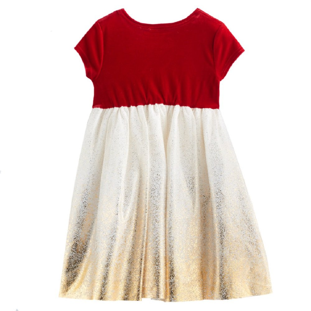 edfc8897 Amazon.com: Blueberi Boulevard Baby Girl Size 3T Sparkle Red Off White Gold  Velvet Dress Special Party: Clothing