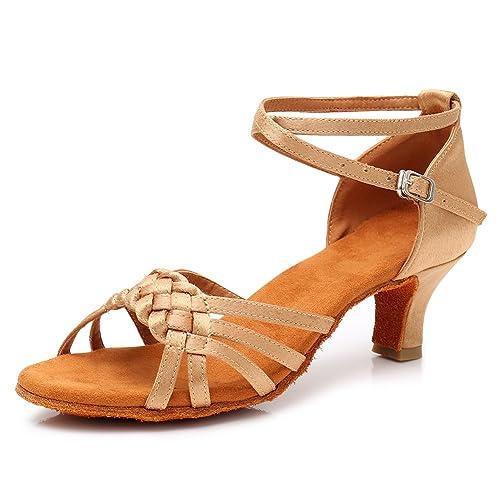 30db2e9a HROYL Zapatillas de Baile de salón de satén Mujer Zapatos de Baile Latino  LP-218: Amazon.es: Zapatos y complementos