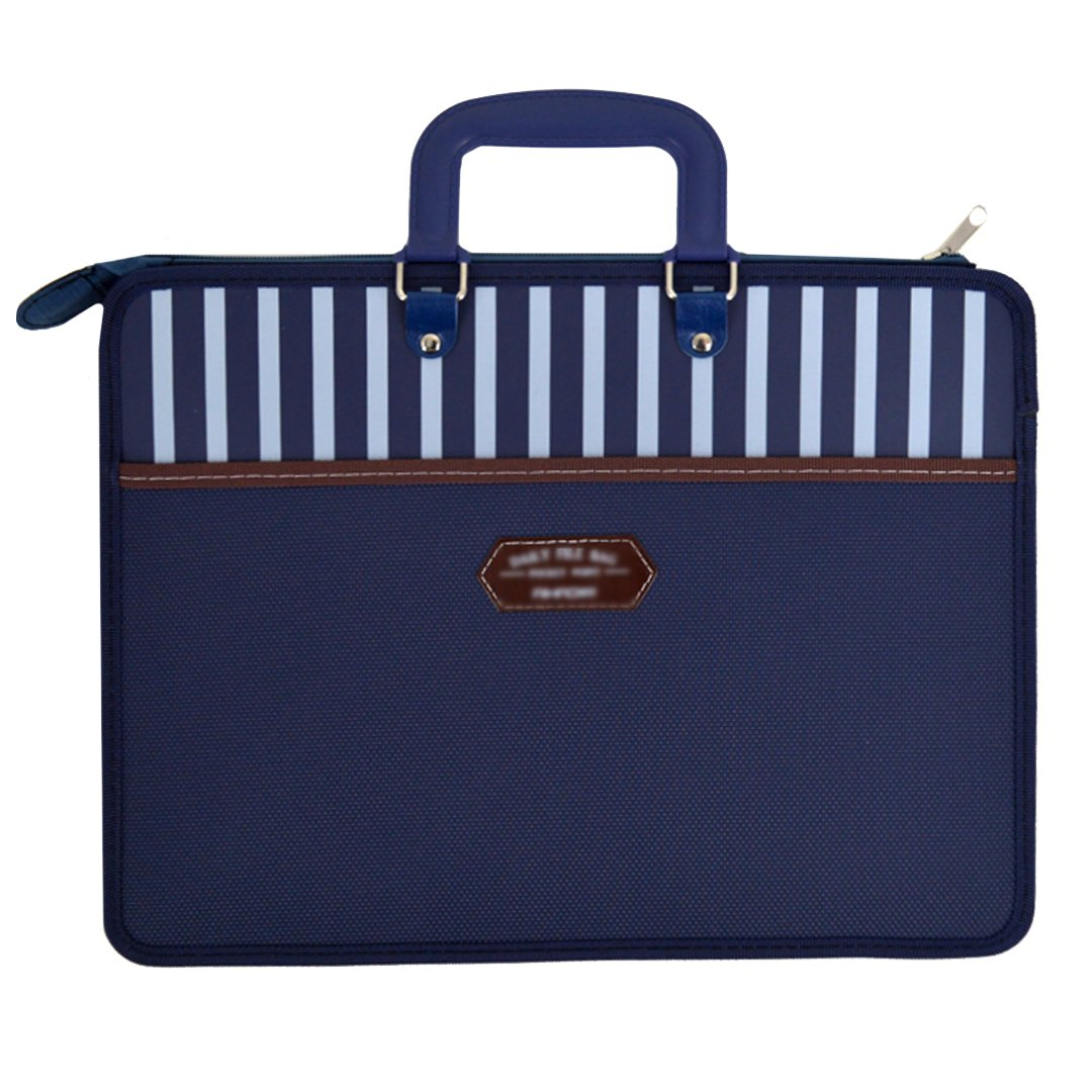 CLARA Zipper Plastic Handbag Briefcase Double Layer Office Business Document Bag(Dark Blue)