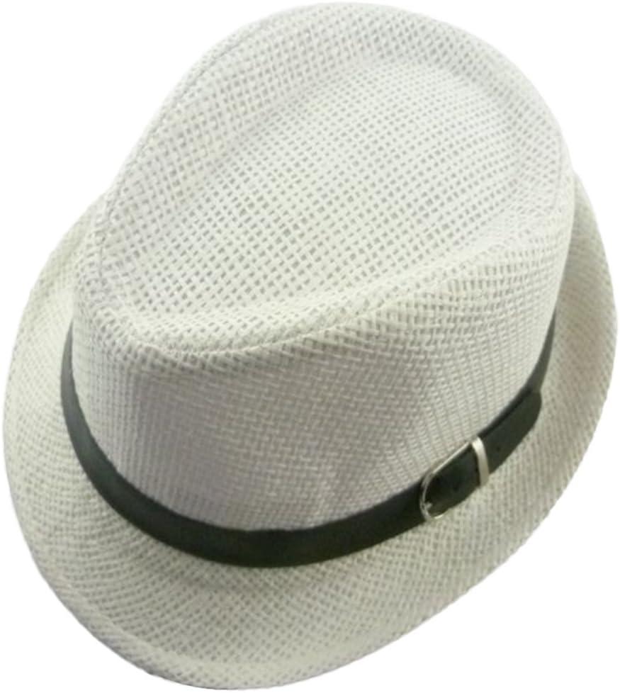 Dosige Sombrero de Visor niños,Sombrero de paja infantil, sombrero de playa,Jazz topper niños size 52-54cm (blanco)
