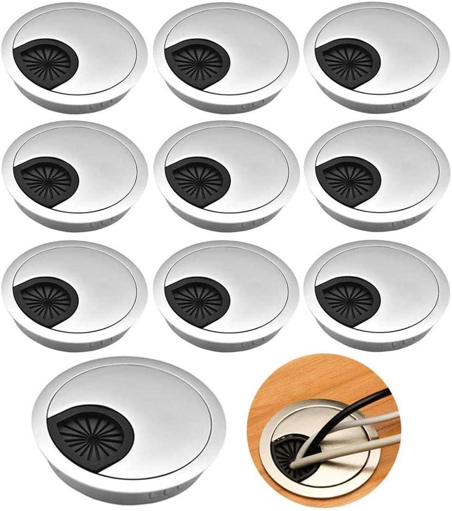 60mm 10 Piezas Pasacables de Escritorio Cubierta de Agujero de Mesa Tapa Pasacables de Pl/ástico Tapa del Orificio De Alambre Ojal De Escritorio para Mesas de Computadora//Escritorios