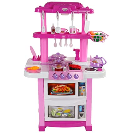 Wanju MEIDUO Toys Childrens Toy Kitchen Set, With 30 Pieces Of Utensils Etc  Height: