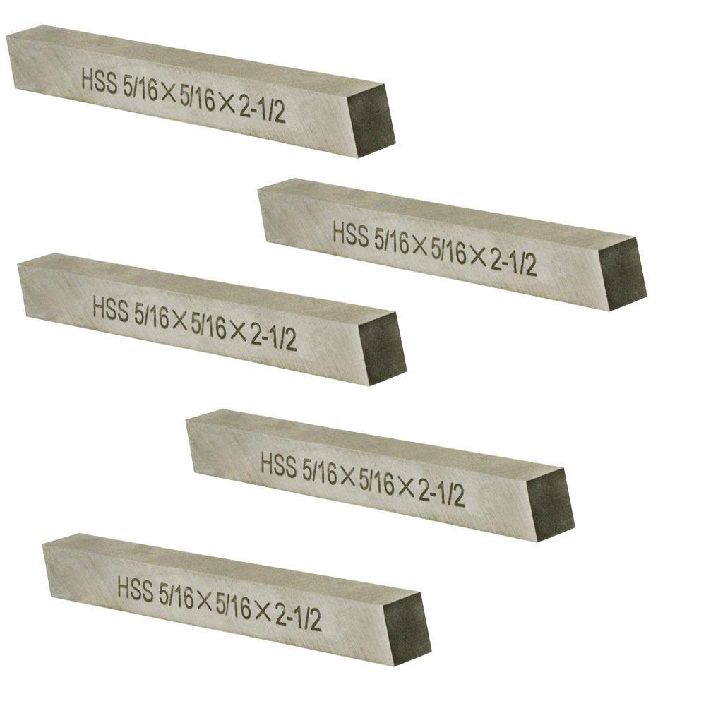 5PC 5/16'' X 5/16'' X 2-1/2'' HSS Tool Bit Rectangular Lathe Fly Cutter Mill Blank