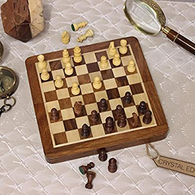 Wooden Magnetic Chess & Backgammon Set Games Foldable Handmade 19cm