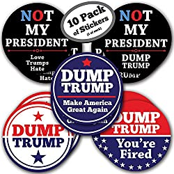 10-Pack of Anti President Trump Stickers - 5 Inch - Join the Resistance! Use as Car Bumper Stickers or Wear them to March, Resist and be Anti-Trump. Best for Democrat gifts or at a Democratic Party.