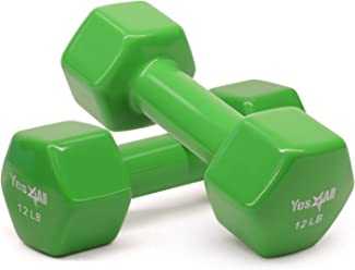 Yes4All Deluxe Vinyl Coated Dumbbells (Sold in Pair) - Multi Weight Size & Color Available