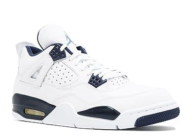 competitive price c64ad 4f26c Nike Mens Air Jordan 4 Retro LS Columbia White Legend Blue-Midnight Navy  Leather
